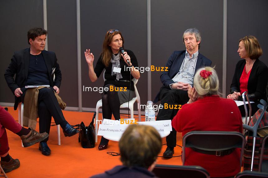 EXCLUSIF : Foire du livre de Bruxelles : Conf&eacute;rence : &quot;Comment r&eacute;enchanter la Justice&quot; - Avec Bernard Wesphael, Alessandra d'Angelo et Jean-Fran&ccedil;ois Funck, magistrat - Mod&eacute;rateur : Dominique Demoulin.<br /> Belgique, Bruxelles, 9 mars 2017.<br /> Pic :  Bernard Wesphael, Alessandra d'Angelo, Jean-Fran&ccedil;ois Funck, Dominique Demoulin