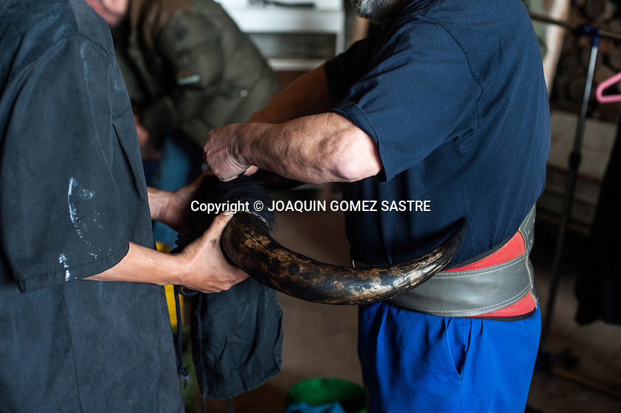 Before you start to walk the streets of Luzon (Guadalajara) participants prepare their cow horns devil costume for