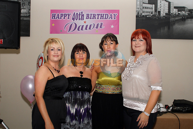 Dawn Tully with friends, Audrey Dyer-Miley, Carol McNicholas and Lisa Judge at her birthday party in The D Hotel...Picture Jenny Matthews/Newsfile.ie