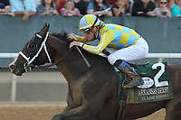 HOT SPRINGS, AR - APRIL 15: Classic Empire #2, with jockey Julien Leparoux aboard before crossing the finish line in the Arkansas Derby at Oaklawn Park on April 15, 2017 in Hot Springs, Arkansas. (Photo by Justin Manning/Eclipse Sportswire/Getty Images)