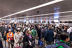 Crowded with people Toronto Pearson International airport arrivals, Canada 2014