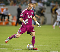CARSON, CA - September 1, 2012: Vancouver goalie Brad Knighton (16) during the LA Galaxy vs the Vancouver Whitecaps FC at the Home Depot Center in Carson, California. Final score LA Galaxy 2, Vancouver Whitecaps FC 0.
