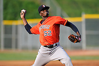 Pitcher Jose Montero (52) of the Greeneville Astros delivers a pitch in a game against the Bristol Pirates on Saturday, July 26, 2014, at DeVault Memorial Stadium in Bristol, Virginia. Greeneville won, 2-1 in Game 1 of a doubleheader. (Tom Priddy/Four Seam Images)