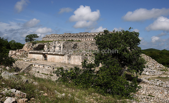 """Eastern Façade of the Codz Poop (""""Rolled-up matting"""" in Maya), Display of Lattice Work and stylized huts, Puuc Architecture, 700 ? 900 AD, Kabah, Yucatan, Mexico. Picture by Manuel Cohen"""