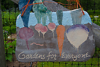 "Sign on community garden gate, ""gardens are for everyone"", Yarmouth ME, USA"