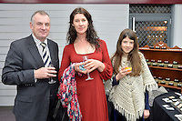 from left, Trevor Mallard, Julia Milne and  Bella Milne New Zealand Eco Fashion Exposed Opening Function at 151 High Street, Lower Hutt, New Zealand on Wednesday 23 July 2014. <br /> Photo by Masanori Udagawa. <br /> www.photowellington.photoshelter.com.