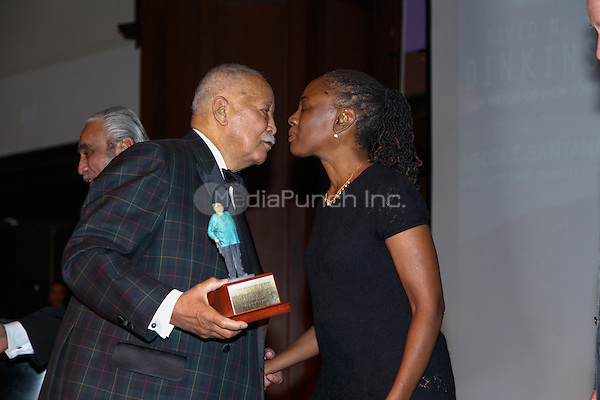 NEW YORK, NY - APRIL 3: Hon. David N. Dinkins, Chirlane McCray pictured as David N. Dinkins, 106th Mayor of the City of New York, receives the Dr. Phyllis Harrison-Ross Public Service Award for a lifetime of public service at the New York Society of Ethical Culture in New York City on April 3, 2014. Credit: Margot Jordan/MediaPunch
