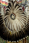 Close up of Native American Northern Traditional Pow Wow Bustle Regalia. <br />
