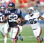 Mississippi linebacker Mike Marry (52) intercepts a pass and is tackled by Auburn wide receiver Travante Stallworth (85) at Vaught-Hemingway Stadium in Oxford, Miss. on Saturday, October 13, 2012. (AP Photo/Oxford Eagle, Bruce Newman)..