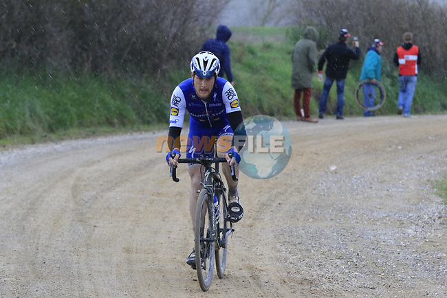 Matteo Trentin (ITA) Quick-Step Floors on gravel sector 8 Monte Santa Maria during the 2017 Strade Bianche running 175km from Siena to Siena, Tuscany, Italy 4th March 2017.<br /> Picture: Eoin Clarke | Newsfile<br /> <br /> <br /> All photos usage must carry mandatory copyright credit (&copy; Newsfile | Eoin Clarke)