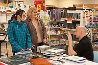 Artist Gary Davies chats to customers