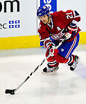 10 April 2010: Montreal Canadiens' right wing forward Brian Gionta in action during the last game of the regular season against the Toronto Maple Leafs at the Bell Centre in Montreal, Quebec, Canada. The Leafs defeated the Habs 4-3 in sudden death overtime, as the Canadiens advance to the Stanley Cup Playoffs with the single point. Mandatory Credit: Ed Wolfstein Photo