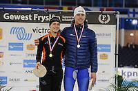 SCHAATSEN: HEERENVEEN: 03-02-2017, KPN NK Junioren, Podium Junioren A, 500m, Isabelle van Elst, Niek Deelstra, ©foto Martin de Jong
