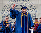 May 17, 2015; Laetare Medal awardee Aaron Neville thanks the crowd after his speech and vocal performance. (Photo by Matt Cashore/University of Notre Dame)