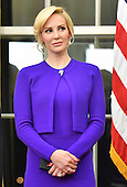 United States Secretary of the Treasury Steven Munchin's fiancee Louise Linton attends Munchin's swearing-in ceremony at the White House in Washington, D.C. on February 13, 2017. Mnuchin was confirmed by the Senate 54-47 earlier today. <br /> Credit: Kevin Dietsch / Pool via CNP