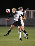3 November 2006: Wake Forest's Laura Colven (24) battles for a header with Florida State's Kelly Rowland (behind). Florida State defeated Wake Forest 4-2 in penalty kicks after playing to a 0-0 draw after overtime at SAS Soccer Park in Cary, North Carolina in an Atlantic Coast Conference women's college soccer tournament semifinal game.