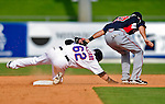 2 March 2010: New York Mets' center fielder Jesus Feliciano is tagged out at second by Atlanta Braves shortstop Brandon Hicks during the Opening Day of Grapefruit League play at Tradition Field in Port St. Lucie, Florida. The Mets defeated the Braves 4-2 in Spring Training action. Mandatory Credit: Ed Wolfstein Photo
