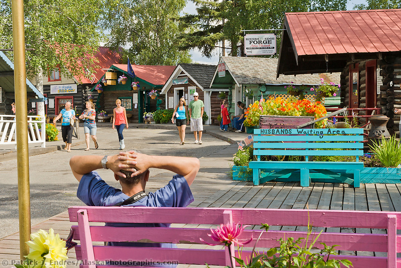 Tourists shop in the historic Pioneer Park, Fairbanks, Alaska.