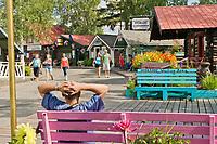 Tourists shop in the historic Pioneer Park, Fairbanks, Alaska.