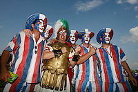 Jul 9, 2006; Berlin, GERMANY; An Italy supporter poses with a number of France supporters prior to the match between Italy and France in the final of the 2006 FIFA World Cup at the Olympiastadion, Berlin. Mandatory Credit: Ron Scheffler-US PRESSWIRE Copyright © Ron Scheffler