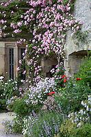 Rambling roses climbing over the facade of Haddon Hall