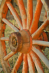 Detail of an old wooden wagon wheel