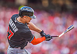 22 September 2013: Miami Marlins outfielder Giancarlo Stanton breaks his bat during a game against the Washington Nationals at Nationals Park in Washington, DC. The Marlins defeated the Nationals 4-2 in the first game of their day/night double-header. Mandatory Credit: Ed Wolfstein Photo *** RAW (NEF) Image File Available ***