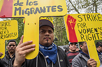 NEW YORK, NY - May 01:  A man holds a sign during the May Day Strike for workers rights at Washington Square Park .Labor unions and civil rights groups staged May Day rallies in several U.S. cities on Monday to denounce President Donald Trump's get-tough policy on immigrationIn New York City on May 01, 2017. Photo by VIEWpress/Maite H. Mateo.