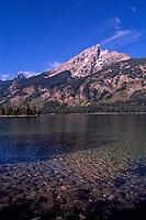 Grand Teton National Park, Wyoming, WY, USA - Grand Teton (Elev 4,197 m / 13,770 ft) and Teton Range Mountains at Jenny Lake, Summer
