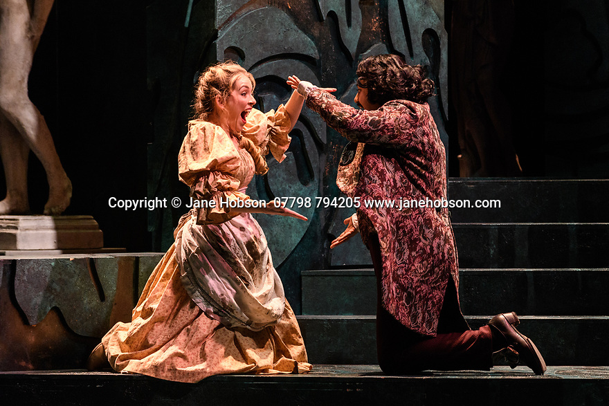London, UK. 07.03.2017. English Touring Opera presents PATIENCE, by Gilbert & Sullivan, at the Hackney Empire, prior to its UK tour. Picture shows: Lauren Zolezzi (Patience), Ross Ramgobin (Grosvenor). Photograph © Jane Hobson.