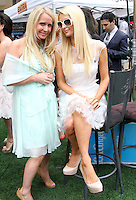 "Kim Richards, Paris Hilton.Gabriel Mann And Kathy And Paris Hilton Fashion Show On ""Extra"" Held at The Grove, West Hollywood, California, USA..May 2nd, 2012.full length white sheer dress blue sitting sunglasses shades .CAP/ADM/KB.©Kevan Brooks/AdMedia/Capital Pictures."