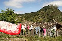 Laundry drying  in the Lenca Indian village of La Campa, Lempira, Honduras