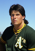 Oakland A's slugger Jose Canseco (1989 photo by Ron Riesterer)