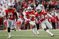 Ohio State Buckeyes safety Malik Hooker (24) returns an interception during a NCAA Division I college football game between the Ohio State Buckeyes and the Indiana Hoosiers on Saturday, October 8, 2016 at Ohio Stadium in Columbus, Ohio. (Joshua A. Bickel/The Columbus Dispatch)