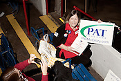 February 16, 2012. Raleigh, NC.. Betts Willman, of Cary, shows her support for PAt McCrory..  The North Carolina Republicans held their 2012 Precinct Meeting at Dorton Arena with former Charlotte mayor Pat McCrory as the key note speaker.