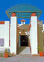 Michael Graves: San Juan Capistrano Library--Entrance.  Photo '86.