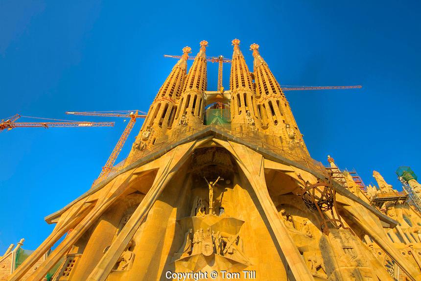 The Sagrada Famalia Church, Barcelona, Spain Work of famous modern artist Gaudi Construction begun in 1883