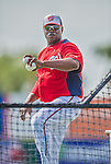 9 March 2013: Washington Nationals coach Nilson Robledo tosses batting practice prior to a Spring Training game against the Miami Marlins at Space Coast Stadium in Viera, Florida. The Nationals edged out the Marlins 8-7 in Grapefruit League play. Mandatory Credit: Ed Wolfstein Photo *** RAW (NEF) Image File Available ***