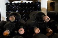 old bottles in the cellar couvent des jacobins saint emilion bordeaux france