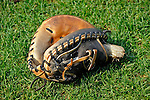 21 June 2008: Washington Nationals' catcher Wil Nieves' mitt lies on the grass during batting practice prior to a game against the Texas Rangers at Nationals Park in Washington, DC. The Nationals fell to the Rangers 13-3 in the second game of their 3-game inter-league series...Mandatory Photo Credit: Ed Wolfstein Photo
