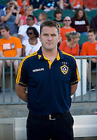LA Galaxy coach Curt Onalfo watches his team before a third round match in the US Open Cup at WakeMed Soccer Park in Cary, NC.  The Carolina Railhawks defeated the LA Galaxy, 2-0.