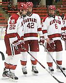 David Valek (Harvard - 22), Brendan Rempel (Harvard - 42), Ryan Grimshaw (Harvard - 6) - The Harvard University Crimson defeated the visiting Clarkson University Golden Knights 3-2 on Harvard's senior night on Saturday, February 25, 2012, at Bright Hockey Center in Cambridge, Massachusetts.