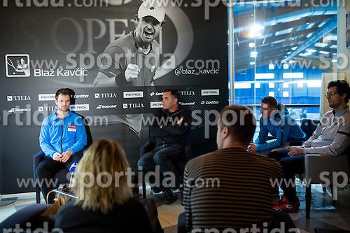 Blaz Kavcic, tennis player of Slovenia and Gasper Bolhar during press conference after the end of season, on December 17, 2015 in Tennis Academy Breskvar, Ljubljana, Slovenia. Photo by Vid Ponikvar / Sportida