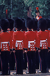 Trooping the Colour. The Queen inspecting her troops (she is riding a horse that cant be seen) London England. The English Season published by Pavilon Books 1987. Page 105