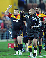 Chiefs Ben Tameifuna, left and Hika Elliot celebrate after their defeat over the Crusaders in the Super 15 Rugby semi final match, Waikato Stadium, New Zealand, Friday, July 27, 2012. Credit:SNPA / Ross Setford