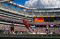 Valencia C. F. goalkeeper Diego Alves (1) dives for a ball. Valencia C. F. defeated F.C. Internazionale Milano 4-0 during round two of the 2013 Guinness International Champions Cup at MetLife Stadium in East Rutherford, NJ, on August 04, 2013.