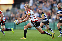 Billy Twelvetrees of Gloucester Rugby passes the ball. West Country Challenge Cup match, between Bath Rugby and Gloucester Rugby on September 26, 2015 at the Recreation Ground in Bath, England. Photo by: Patrick Khachfe / Onside Images