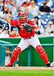 24 September 2011: Washington Nationals catcher Ivan Rodriguez in action against the Atlanta Braves at Nationals Park in Washington, DC. The Nationals defeated the Braves 4-1 to even up their 3-game series. Mandatory Credit: Ed Wolfstein Photo