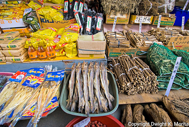 Dried and prepared goods are on display in an open air market in Wonju, Korea.
