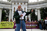 Mexican journalist Jorge Melendez gives a speech in front of hundreds of protesters that attend a meeting to demand justice for the photojournalist Ruben Espinosa, at the Hemiciclo a Juarez Monument in Mexico City, August 8, 2015. Espinosa was shot to death on July 31, 2015 along with four women in a Mexico City's middle-class neighborhood. Photo by Heriberto Rodriguez
